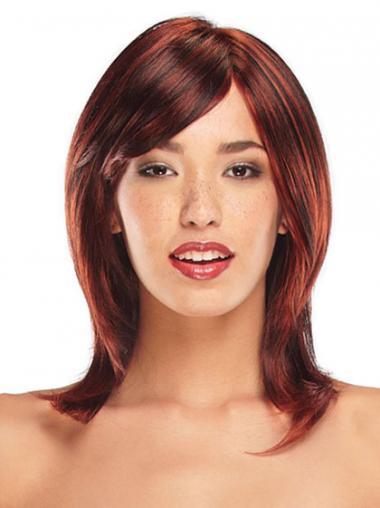 Red Layered Straight Convenient Medium Wigs