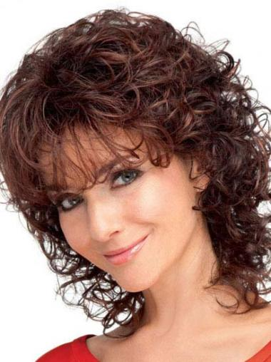 With Bangs Auburn Curly Trendy Classic Wigs
