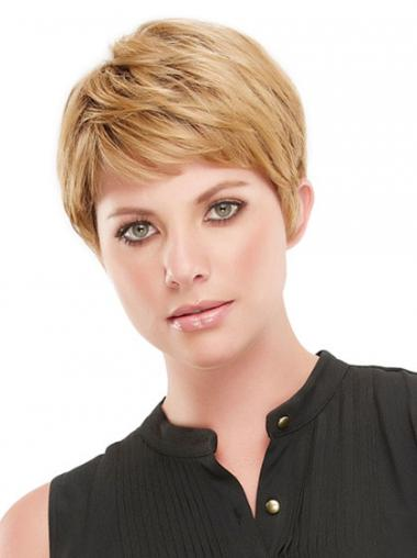 Blonde Boycuts Straight Suitable Synthetic Wigs