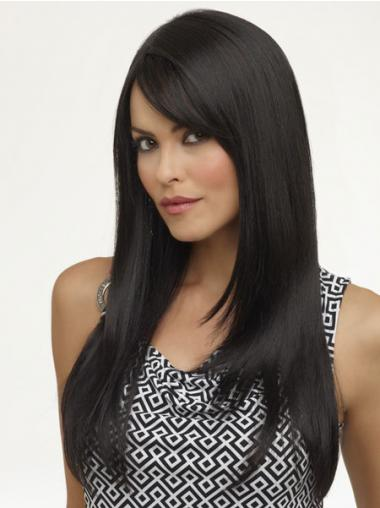 Black Layered Straight Soft Synthetic Wigs