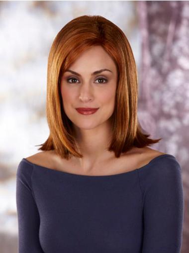 Straight Auburn Lace Front Fashionable Medium Wigs