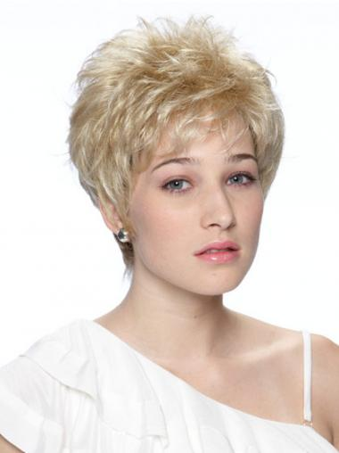 Wavy Blonde Boycuts Exquisite Synthetic Wigs