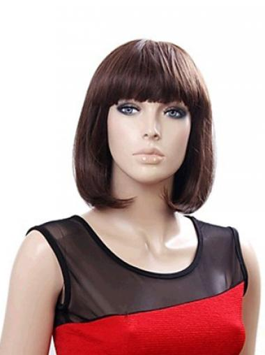 Synthetic Bobs Straight Stylish Medium Wigs