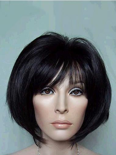 Straight Bobs Black Soft Medium Wigs