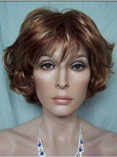 Brown Lace Front Wavy Convenient Short Wigs