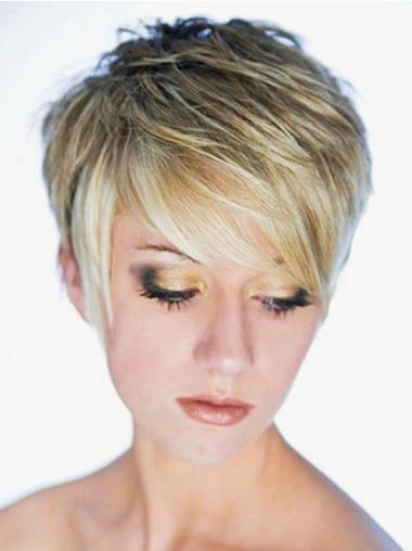 Straight Blonde Boycuts Discount Synthetic Wigs