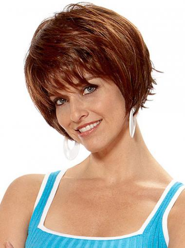 Straight Layered Auburn Cheap Synthetic Wigs
