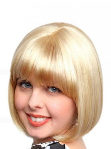 Blonde Bobs Synthetic Fashionable Medium Wigs
