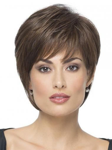 Brown Boycuts Straight Online Synthetic Wigs