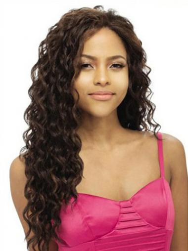 Wavy Brown Without Bangs Cheap Human Hair Lace Front Wigs