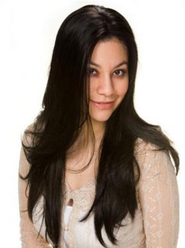 Straight Black Lace Front Durable Long Wigs