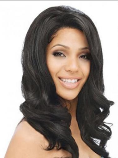 Black Indian Remy Hair Wavy Modern Long Wigs