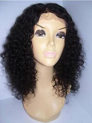 Curly Black Lace Front Durable Medium Wigs