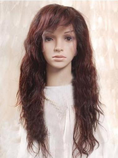 Auburn 100% Hand-tied Wavy Ideal Long Wigs