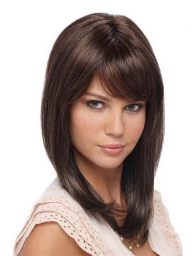 Straight Brown Lace Front Sleek Celebrity Wigs