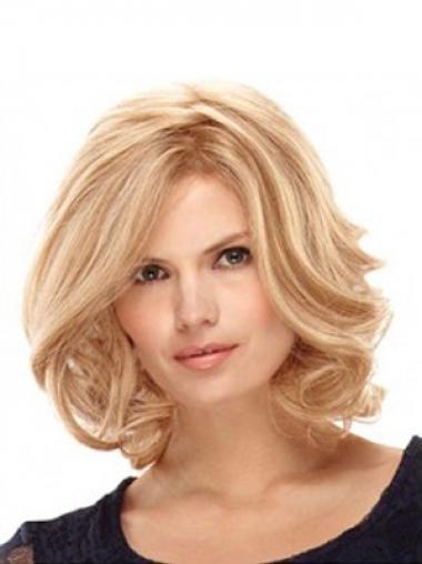 Blonde Wavy Layered Ideal Medium Wigs
