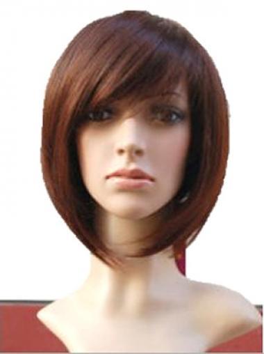 Bobs Auburn Remy Human Hair Soft Medium Wigs