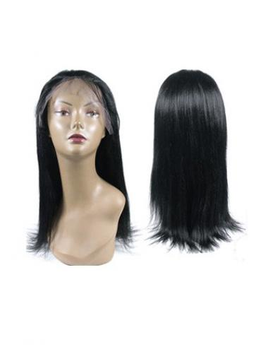 Straight Black 100% Hand-tied Good Long Wigs