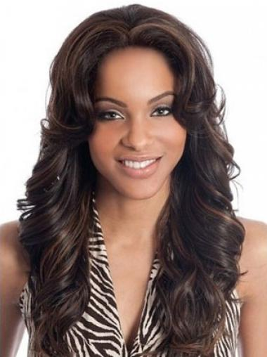 Auburn Indian Remy Hair Wavy Natural Long Wigs