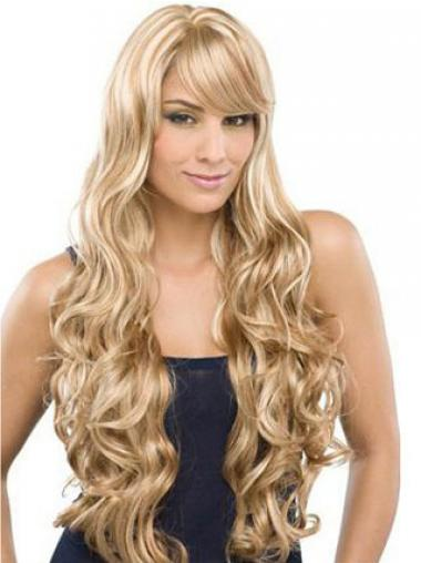 Wavy Blonde 100% Hand-tied Perfect Long Wigs