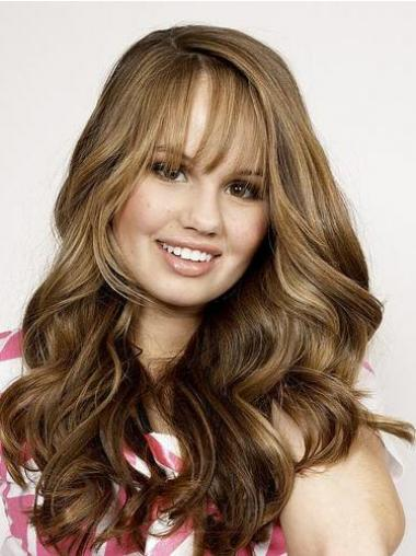 Brown With Bangs Wavy Suitable Human Hair Lace Front Wigs