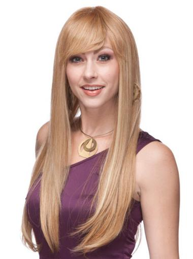 Straight Blonde With Bangs High Quality Long Wigs