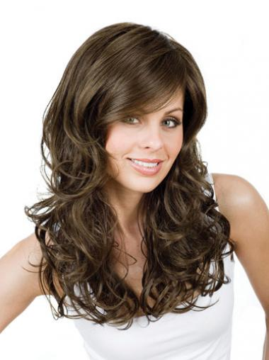 Brown With Bangs Curly Cheap Long Wigs