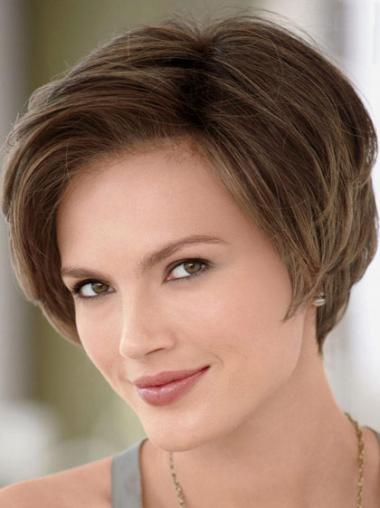 Brown Without Bangs Straight Natural Celebrity Wigs
