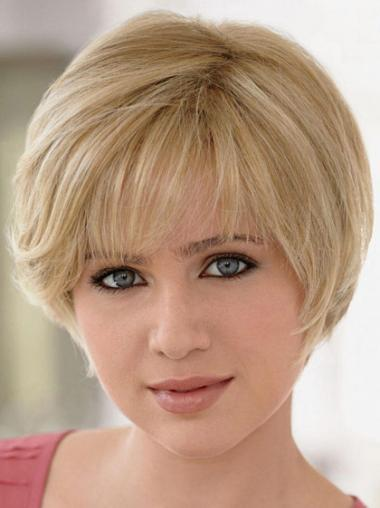 Straight Blonde Layered Fashion Short Wigs