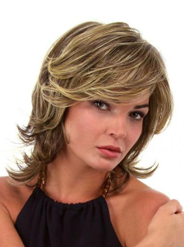 Brown Layered Synthetic Sleek Medium Wigs