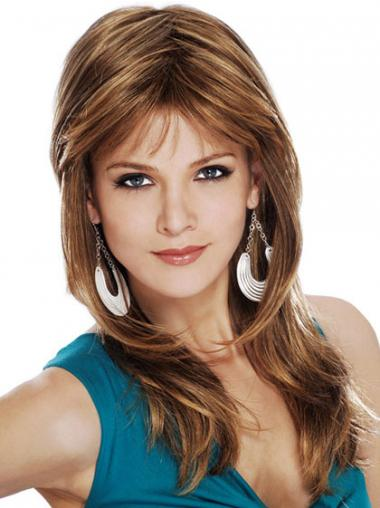 Brown Layered Straight Popular Long Wigs