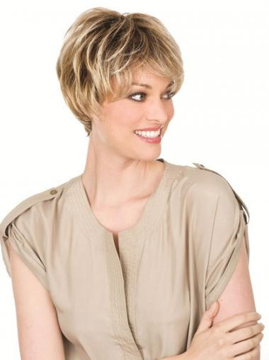 Blonde Layered Wavy Designed Short Wigs