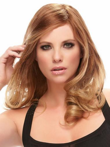 Auburn Layered Wavy Top Human Hair Lace Front Wigs