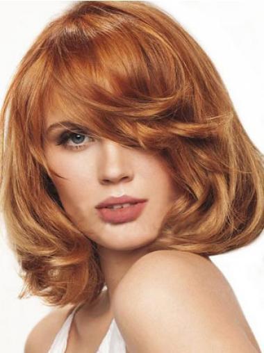 Auburn With Bangs Wavy Perfect Medium Wigs