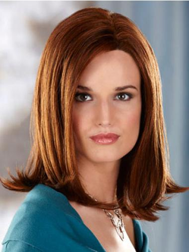 Without Bangs Auburn Straight Natural Synthetic Wigs