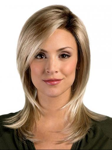 Sleek Layered Blonde Straight Synthetic Wigs