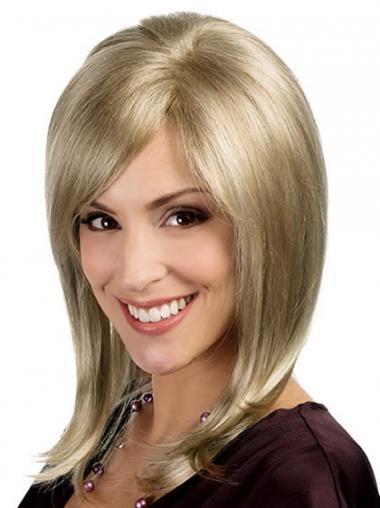 Straight Blonde Layered Discount Medium Wigs