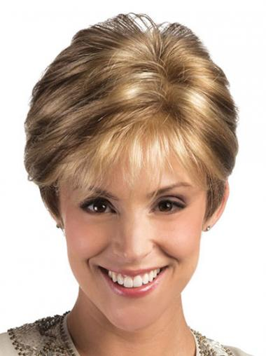 Blonde Layered Straight Natural Short Wigs