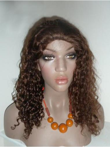 Brown Curly Good Human Hair Lace Front Wigs