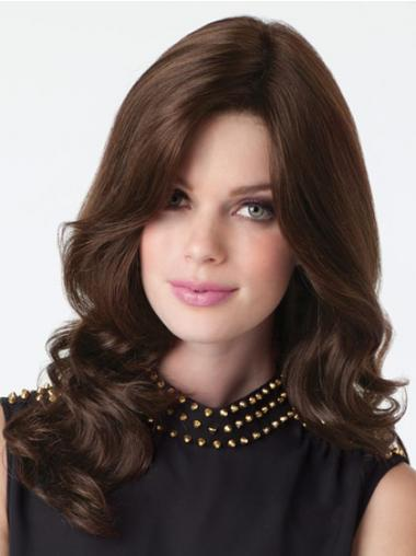 Brown Layered Wavy No-fuss Human Hair Lace Front Wigs