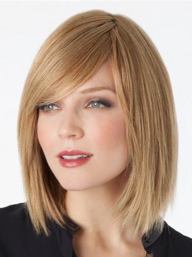 Straight Blonde Bobs Fashion Medium Wigs