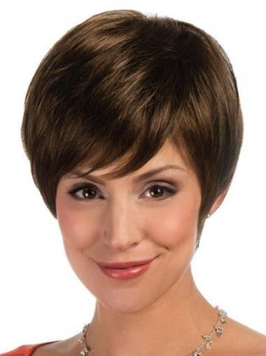 Sassy Straight Brown Short Wigs