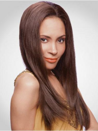Without Bangs Auburn Straight Soft Human Hair Lace Front Wigs