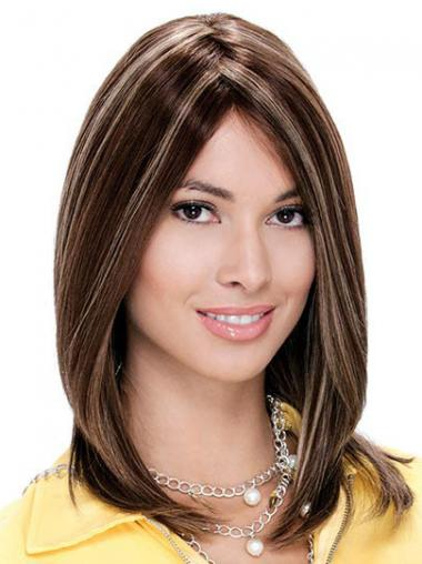 Straight Auburn Without Bangs Exquisite Medium Wigs