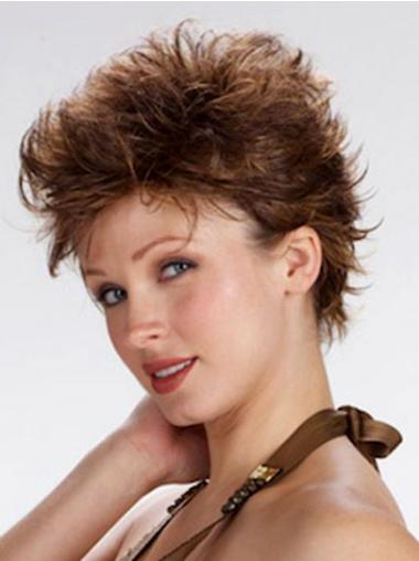 Brown Cropped Wavy Comfortable Short Wigs