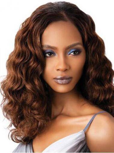 Wavy Auburn Indian Remy Hair Discount Medium Wigs