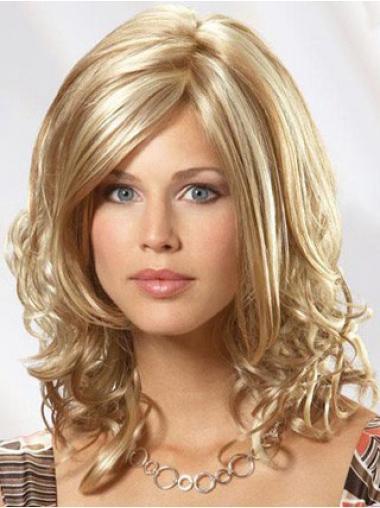 Blonde Wavy Flexibility Medium Wigs