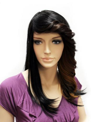 Straight Black Lace Front Good Long Wigs
