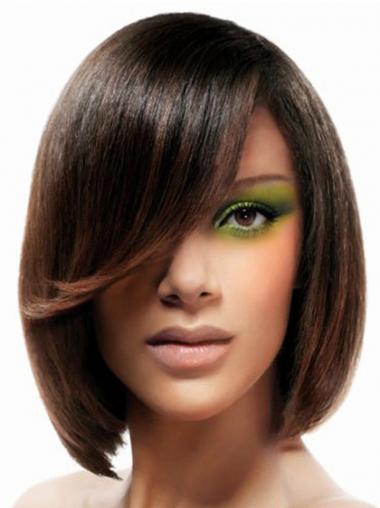 Bobs Straight Brown Designed Medium Wigs