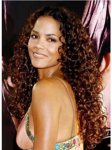 Auburn Indian Remy Hair Curly Sleek Celebrity Wigs